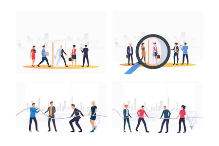 Job competition set. Employees joining team, playing tug-of-war. Flat vector illustrations. Business, career, contest concept for banner, website design or landing web page Ilustracja