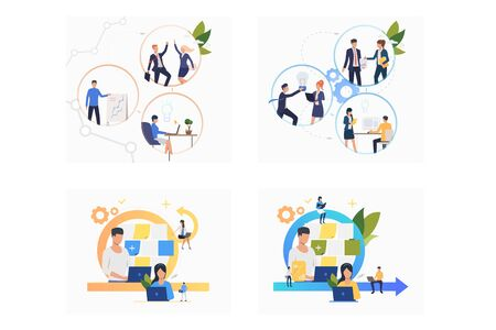 Collaboration on project set. Business colleagues discussing startup ideas, using laptops. Flat vector illustrations. Business, teamwork concept for banner, website design or landing web page