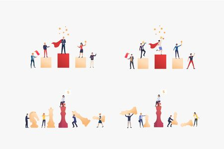 Competitive employees set. Colleagues playing chess, winning awards. Flat vector illustrations. Business, career, competition concept for banner, website design or landing web page Ilustracja