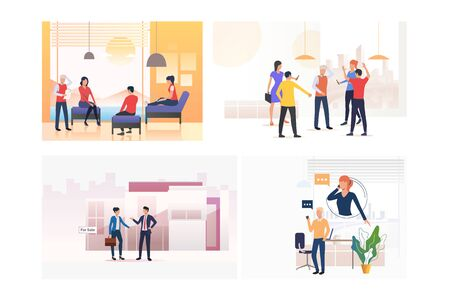 Corporate communication set. Colleagues meeting, chatting, talking on cell, bullying. Flat vector illustrations. Business, discussion concept for banner, website design or landing web page Ilustracja
