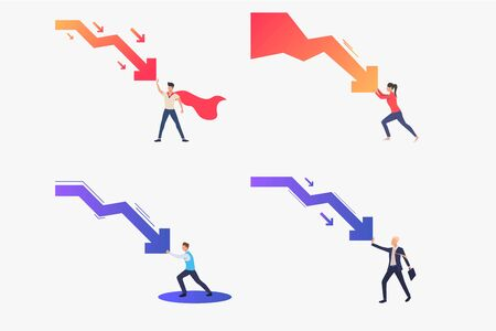 Crisis control set. Business leader stopping arrow falling down. Flat vector illustrations. Business, recession, management concept for banner, website design or landing web page