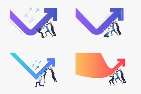 Crisis management set. Business leaders turning falling down arrow up. Flat vector illustrations. Business, recession, challenge concept for banner, website design or landing web page