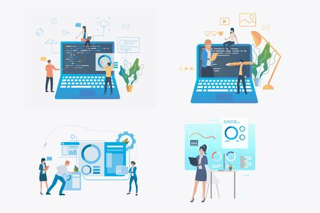 Data analysis set. Business team analyzing code, graph, presenting diagram. Flat vector illustrations. Business, marketing, coding concept for banner, website design or landing web page