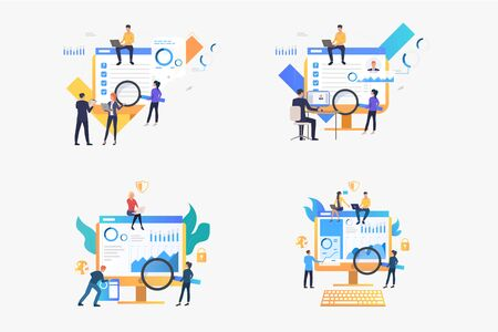 Marketing analysis set. Businesspeople analyzing graphs, reports, survey results. Flat vector illustrations. Business, commerce, research concept for banner, website design or landing web page Ilustracja