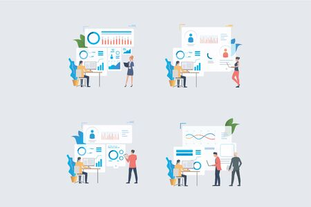 Team analyzing reports set. Business colleagues working on diagrams and charts. Flat vector illustrations. Business, marketing, analysis concept for banner, website design or landing web page Ilustracja