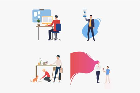 Work and life balance set. People working on computer, holding sandglass, spending time with family. Flat vector illustrations. Lifestyle concept for banner, website design or landing web page