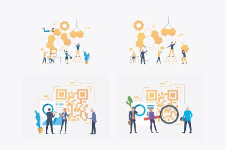 Work on project together set. Business team building mechanism, analyzing QR code. Flat vector illustrations. Business, commerce concept for banner, website design or landing web page Ilustracja