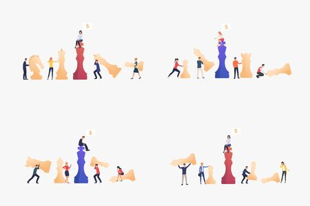 Businesspeople playing chess set. Chessman, piece, team. Flat vector illustrations. Business, teamwork, strategy concept for banner, website design or landing web page Ilustracja