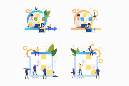 Planning tasks set. Office workers sticking notes on board. Flat vector illustrations. Business, schedule, scrum management concept for banner, website design or landing web page