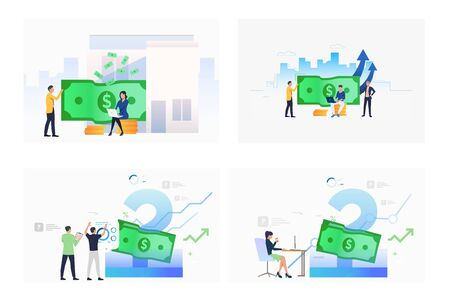 Profit analysis set. Businesspeople analyzing income, money, financial report. Flat vector illustrations. Business, accounting, finance concept for banner, website design or landing web page Ilustracja