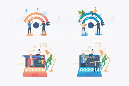 Project management set. Professionals driving arrow to target, writing code. Flat vector illustrations. Business, teamwork, leadership concept for banner, website design or landing web page