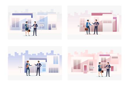 Property sale set. Agent and customers meeting at building for sale, discussing deal. Flat vector illustrations. Meeting, real estate concept for banner, website design or landing web page Ilustracja