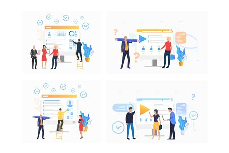 Recruitment agency set. Agents analyzing candidates resume, selecting employees for job. Flat vector illustrations. Business, career concept for banner, website design or landing web page Ilustracja