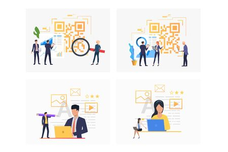 Sales analysis set. Professional team analyzing QR code, graphs. Flat vector illustrations. Business, internet store, commerce concept for banner, website design or landing web page Ilustracja