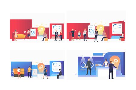 Startup presentation set. Team presenting reports and graphs to partners. Flat vector illustrations. Business, partnership, idea concept for banner, website design or landing web page