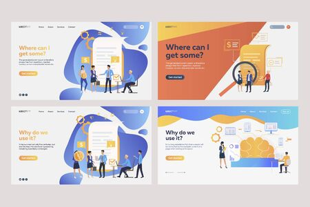 Set of workers analyzing financial documents. Flat vector illustrations of tiny people near reports. Business concept for banner, website design or landing web page