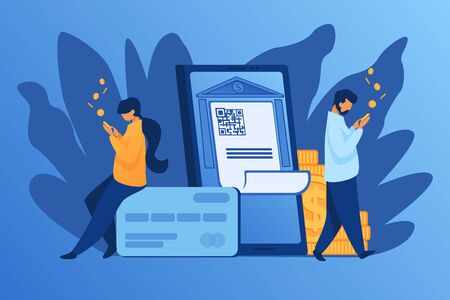 People check money on accounts. People, coins, bank building with qr code flat vector illustration. Finance concept for banner, website design or landing web page