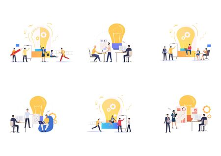 Set of business teams working together. Flat vector illustrations of employees working over project. Teamwork concept for banner, website design or landing web page