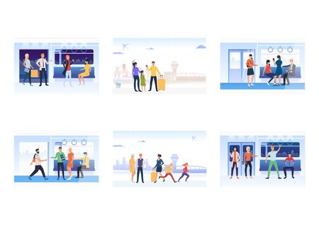 Set of commuters in subway train. Flat vector illustrations of passengers with smartphones, waiting for departure. Public transport concept for banner, website design or landing web page