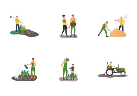 Set of people working on farm. Flat vector illustrations of farmers planting and watering plants. Farming concept for banner, website design or landing web page