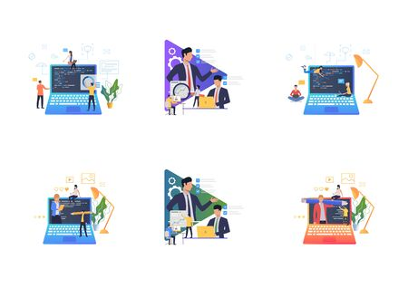 Set of people working on laptops. Flat vector illustrations of men and women doing marketing research. Marketing concept for banner, website design or landing web page