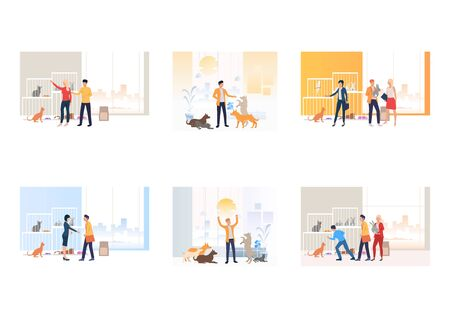 Set of animal shelters. Flat vector illustrations of people and animals. Animal care concept for banner, website design or landing web page Ilustração