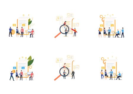 Set of business analysts working with financial documents. Flat vector illustrations of tiny people near reports. Business concept for banner, website design or landing web page