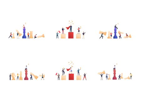 Set of business people achieving success. Flat vector illustrations of male and female cartoon characters achieving goals. Teamwork concept for banner, website design or landing web page