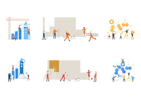 Set of business teams constructing mechanisms. Flat vector illustrations of people launching rocket, constructing graph, painting wall. Teamwork concept for banner, website design or landing web page