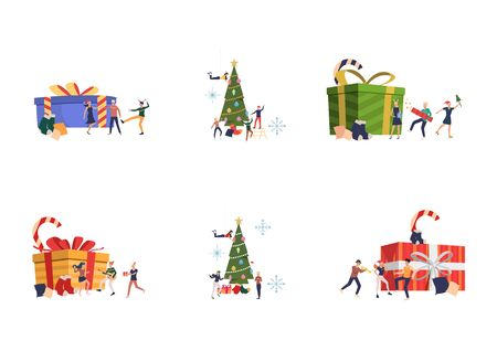 Set of people celebrating New Year. Flat vector illustrations of friends dancing near big gift boxes and decorating spruce. New Year or Christmas concept for banner, website design or landing web page Ilustração