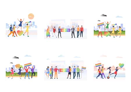 Set of people with flags in LGBTQ parade in city. Flat vector illustrations of homosexuals with rainbow hearts. Diversity, discrimination, freedom concept for banner, website design, landing web page
