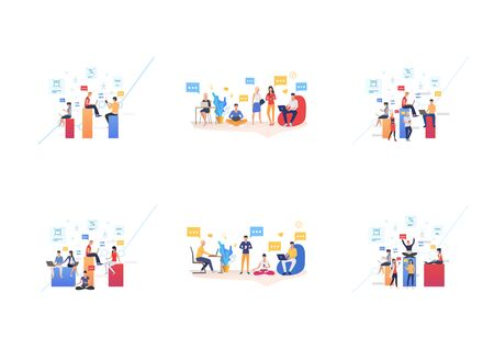 Set of people working in coworking office. Flat vector illustrations of men and women chatting and using devices. Communication for banner, website design, landing web page Ilustração