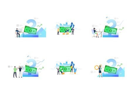 Set of successful men and women counting profit. Flat vector illustrations of business people working and analyzing information. Business success concept for banner, website design or landing web page