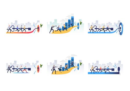 Set of effective teams reaching goals. Flat vector illustrations of people opening lock, running to target. Teamwork concept for banner, website design or landing web page