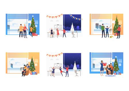 Set of families celebrating Christmas. Flat vector illustrations of people during Christmas corporate party. Winter holidays concept for banner, website design or landing web page Ilustração