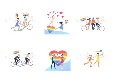 Set of homosexual couples dating. Flat vector illustrations of homosexuals with rainbow hearts. LGBT concept for banner, website design, landing web page