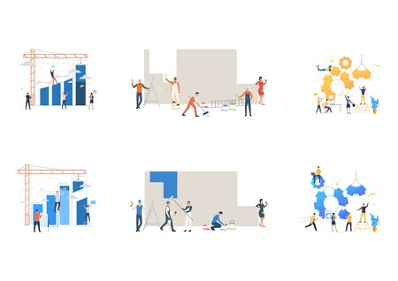 Collection of business teams constructing mechanisms. Flat vector illustrations of people launching rocket, painting wall. Teamwork concept for banner, website design or landing web page