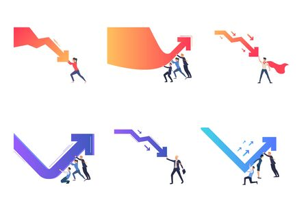 Collection of people pushing arrows. Flat vector illustrations of cartoon characters changing graphs. Growth, success, teamwork concept for banner, website design or landing web page Ilustração