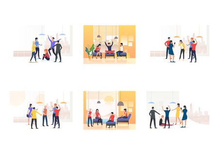 Set of people blaming mate. Flat vector illustrations of friends chatting or pointing at colleague. Communication, aggression concept for banner, website design or landing web page