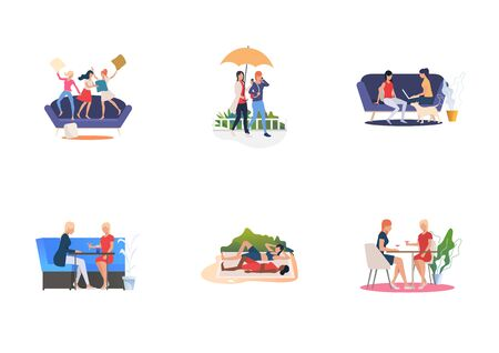 Set of women spending time together. Flat vector illustrations of women fighting with pillows, drinking, practicing yoga. Friendship, leisure concept for banner, website design or landing web page