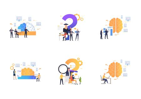 Set of workers analyzing efficiency. Flat vector illustrations of brain, devices, infographics. Efficiency concept for banner, website design or landing web page Ilustração