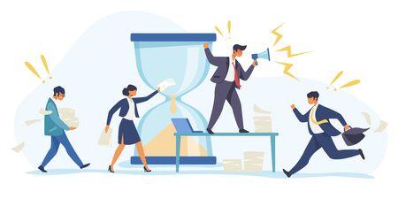 Hurrying workers, burnout. Boss shouting at employees, deadline flat vector illustration. Work related stress concept for banner, website design or landing web page Ilustração