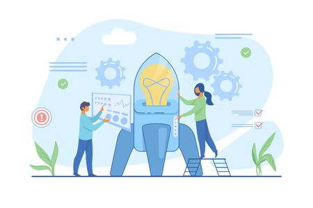 Man setting rocket, woman pushing button on spaceship. Rocket launch flat vector illustration. Startup concept for banner, website design or landing web page
