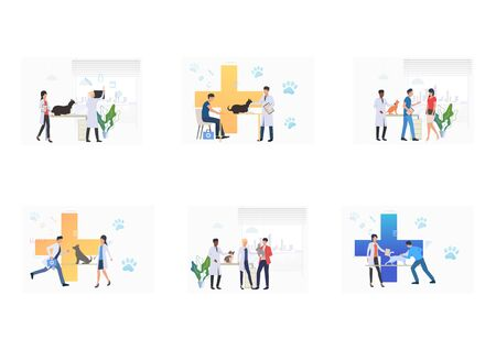 Set of owners visiting veterinarian in vet clinic. Flat vector illustrations of people and pets in vet clinic. Pet treatment, animal care concept for banner, website design or landing web page