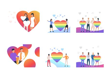 Set of homosexual couples with rainbow hearts. Flat vector illustrations of homosexuals dating. LGBT concept for banner, website design, landing web page