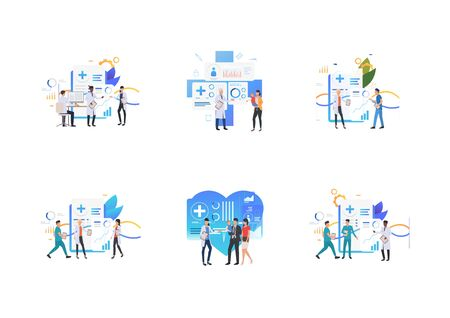 Set of medical staff working at lab. Flat vector illustrations of clinic, medical lab. Treatment, consultation, child care concept for banner, website design or landing web page