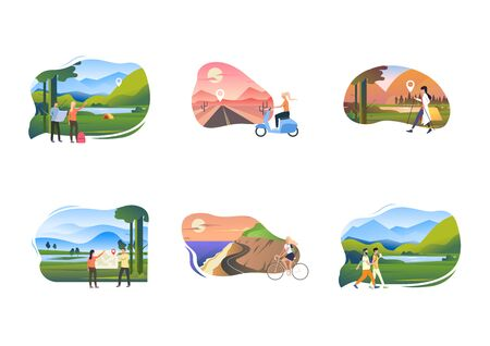 Set of young people enjoying active leisure. Flat vector illustrations of people finding locations, riding scooter. Recreation, hiking concept for banner, website design or landing web page