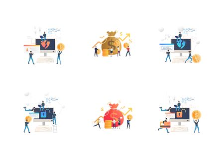 Set of cybercrime teams hacking into computers. Flat vector illustrations of hackers breaking private info. Hacker attack concept for banner, website design or landing web page