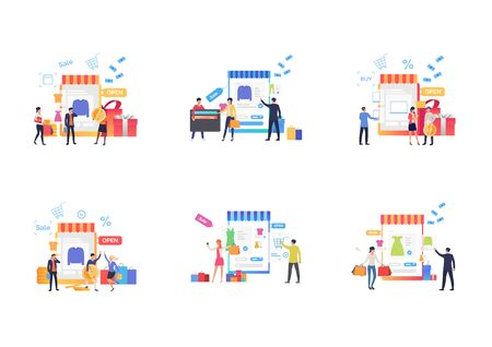 Set of people buying online. Flat vector illustrations of men and women choosing clothing and counting profit. Online shopping concept for banner, website design or landing web page Фото со стока - 137952644