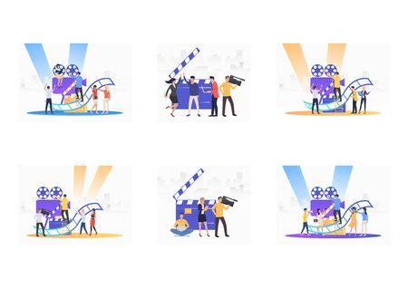 Set of people filming. Flat vector illustrations of camera crew making TV show. Mass media concept for banner, website design or landing web page Illustration